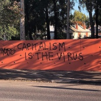 "mural com o texto ""capitalism is the virus"""